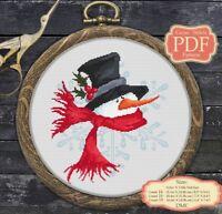 Snowman - Cartoon - Christmas / New Year - Modern Cross stitch PDF Pattern - 045