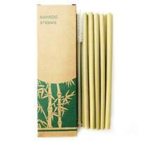 12 Bambus Strohhalme | 100% Bambus Holz wiederverwendbar | Mit Reinigungsbürste