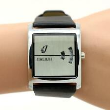 JIALILEI Quartz silver leather stainless analogue jump hour wristwatch brand new