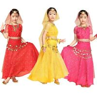 Kids Girls Elegant Belly Dance Costume Outfit Shiny Top Hip Scarf Veil Skirt Set