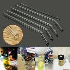 5Pcs Reusable Straight Bent Glass Tube Drinking Straw Sucker With Cleaning Brush