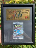 Proxy Sealed Neo Genesis Booster Pack and Pokemon Gold Banknote Frame