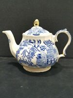 "VINTAGE SADLER England ""Blue Willow"" Teapot, Blue White Gold Trim"