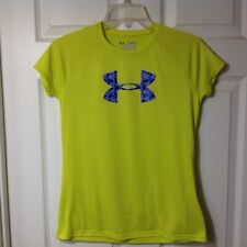 UNDER ARMOUR GIRLS DRI FIT HEAT GEAR SHORT SLEEVE TOP SHIRT, SIZE LARGE, YLG