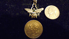 bling PEWTER egyptian myth legend beetle scarab Charm Pendant Necklace jewelry
