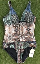 New Milea Turkish Tile Lace Up Maillot In Ink - Size AU12 / US8
