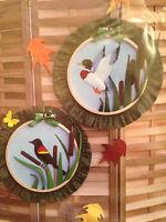 "Mallard Blackbird Shadowbox Hoop 14"" Hanging Sewing Pattern Country Feeling 1984"