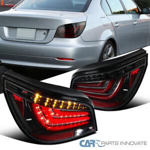 For 08-10 BMW E60 5-Series 525i 530i Pearl Black LED Tube Tail Brake Lights L+R