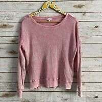 Splendid Women's Pink Long Sleeve Waffle Knit Top Size Medium