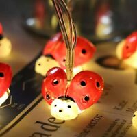 Ladybug String Lights Led Outdoor Strings Waterproof Garden Fence Decorations