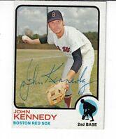 JOHN KENNEDY 1973 TOPPS AUTOGRAPHED BASEBALL CARD 437 BOSTON RED SOX