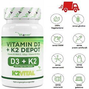 Vitamina D-3 D3 5000 UI IU + K2 200 mcg 365 Compresse VITAMINE pastiglie MK7