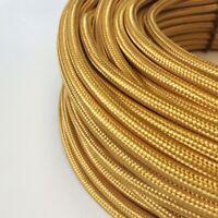 Textilkabel, Stoffkabel, Textilleitung, rund, gold 2x0,75mm² H03VV-F