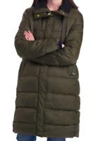 NEW Barbour Women's Weatheram Longline Puffer Coat in Olive - Size 8 #C1194
