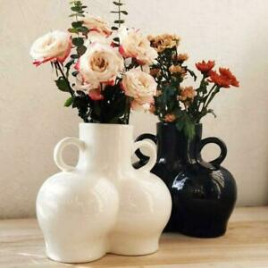 Human Body Vase 3D Bum Nude Abstract Flower Vase Home Office Decore Black/White
