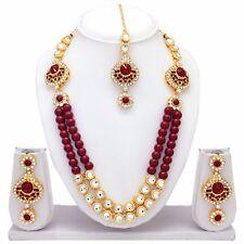 Indische Bollywood Mode Hochzeit Gold überzogene Halskette Set Brautschmuck 1752