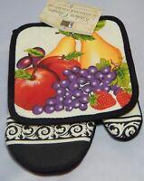 Better Home Kitchen 2 Piece Set Pot holder & Oven Mitt Set Mixed Fruit Black