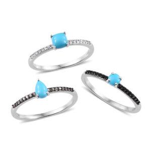 Arizona Sleeping Beauty Turquoise, Multi Gemstone Rings in Platinum Over SS 9