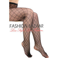 Womans Sexy Diamond Fishnet Black Fashion Tights Party Club Lace Pattern Tights