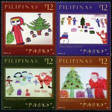 Christmas 2017 Children's Art mnh block of 4 stamps Philippines Santa Claus Tree