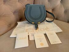 New Chloe Mini Marcie Leather Crossbody Shoulder bag Cloudy Blue Grey Blue NWT!!