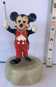"""Vintage Signed '91 Limited Edition Ron Lee Disney's """"Conductor Mickey"""" on Onyx"""
