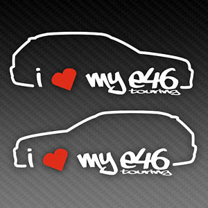 BMW I Love My E46 Touring Sticker Set 20cm x 8cm Silhouette M3 Tuning EDM