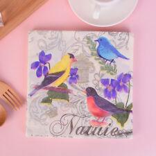 20pcs Flower and Bird Decoupage Napkin Paper Tissue for Xmas Wedding Decor PT
