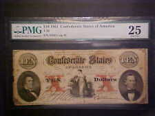 CONFEDERATE STATES OF AMERICA (CSA) T26 $10 NOTE1861 PMG VF25 MISMATCHED SERIAL