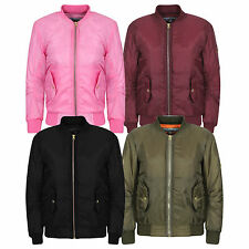 Girls Boys Kids Babies MA1 US Air Pilot Zip Up Biker Bomber Padded Jacket Top