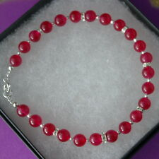 "Beautiful Bracelet With Indian Ruby 8"".5 Inc.Long 925 Silver Clasps In Gift Box"