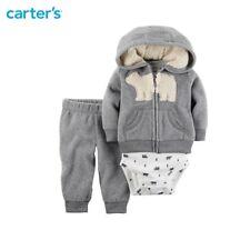 Carters Newborn 3-Piece Little Jacket Hoodie Set, Grey Bear-3 months