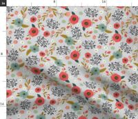 Flowers Floral Grey Silver Girly Swear Swear Spoonflower Fabric by the Yard