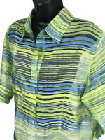 TanJay Sheer Blouse Top Womens Size 14 Green Blue Striped 3/4 Sleeve