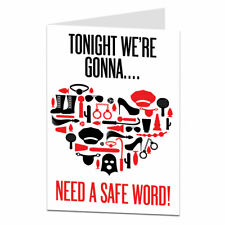 Funny Happy Valentine Card Rude Naughty Safe Word Design For Him & Her