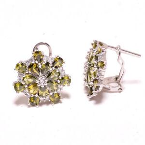 """Burmese Peridot,White Topaz 925 Sterling Silver Jewelry Earring 0.75"""" T8623"""