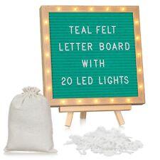 Ohana Homeworks Teal Felt Letter Board With Led Lights Message Board 10x10