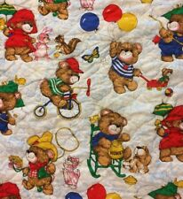 Teddy Bears Baby Blanket Crib Quilt Lovey Bicycling Rabbits Balloons Red Blue