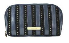 New Tartan+Twine Blue+Black,Gold Tone Studs Velvet Travel Pouch,Cosmetic Bag