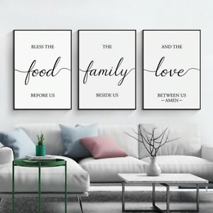 Family Quote Minimalist Artwork Prints, 3 Piece Canvas Wall Art Set(Unframed)