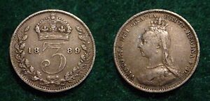 1889 SILVER 3 PENCE GREAT BRITAIN**NICE DETAILS**