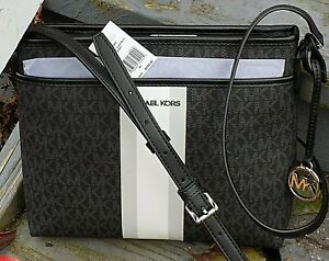 Authentic MICHAEL KORS MK Black Messenger Signature Stripe CROSS-BODY $298. NWT