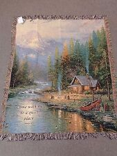 Thomas Kinkade End of a Perfect Day II  afghan, throw woven tapestry 50 x 60 in.