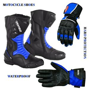 Men Motorcycle Racing Long Ankle Leather Boots Biker Shoes Riding Leather Gloves