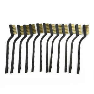 12 Wire Brush Mini Micro Small Steel Brass DIY Paint Rust Remover Metal Brushes