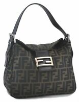 Authentic FENDI Zucca Mamma Baguette Shoulder Bag Canvas Leather Brown C0080