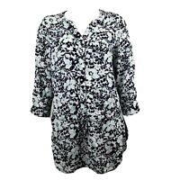 CROFT & BARROW Black White Blue Floral 3/4 Sleeve Blouse Womens Size M Medium