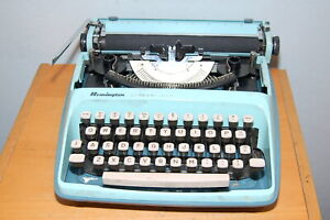 Blue Remington Streamliner Portable Typewriter