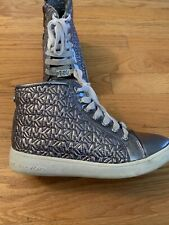 Girls Micheal Kors Ivy Pewter Silver High-Top Sneskers-Size 2