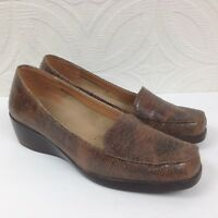 Women's AEROLOGY by AEROSOLES Up Tempo Brown Reptile Slip On Shoes Size 8.5 M